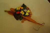 Carrot, Marscarpone, Toasted Cheese Curds and Edible Flowers